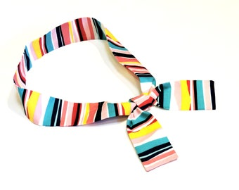 Neck Cooling Bandana, Gel Neck Cooler Scarf, Stay COOL Tie Wrap,Body Head Heat Relief Headband,Knotted Hair Band,Multi Color Stripe iycbrand
