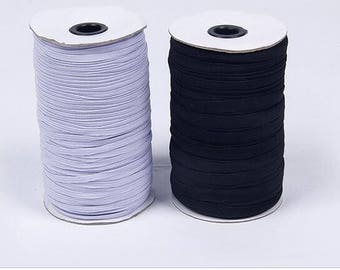 ELASTIC  Sewing Braided Roll  White Black DIY Headbands 3mm 5mm 6mm 8mm 10mm 12mm wide Pick