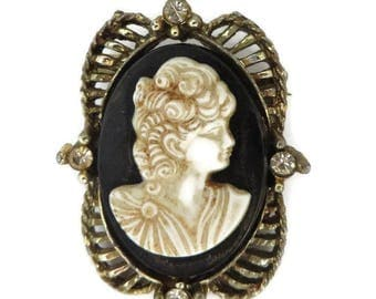 Vintage Cameo Brooch, Black & Cream Cameo, Rhinestone Studded Gold Tone Pin, Antique Style Pin