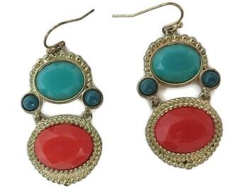Faux Turquoise, Coral Earrings, Vintage Boho Dangling Earrings, Pierced Beaded Dangles, Hippie Jewelry