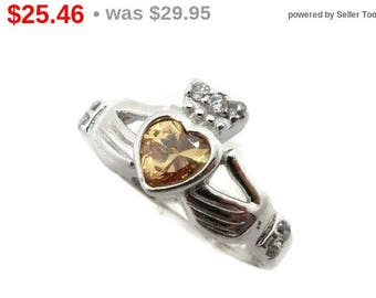 ON SALE! Vintage Citrine Claddagh Sterling Silver Ring, Irish Ring, Citrine and Topaz Ring, Yellow Stone Ring, Size 5