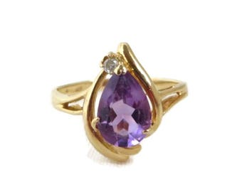 14K Gold Amethyst Ring - Vintage Pear Shaped Amethyst & Diamond Accent Ring, Size 6