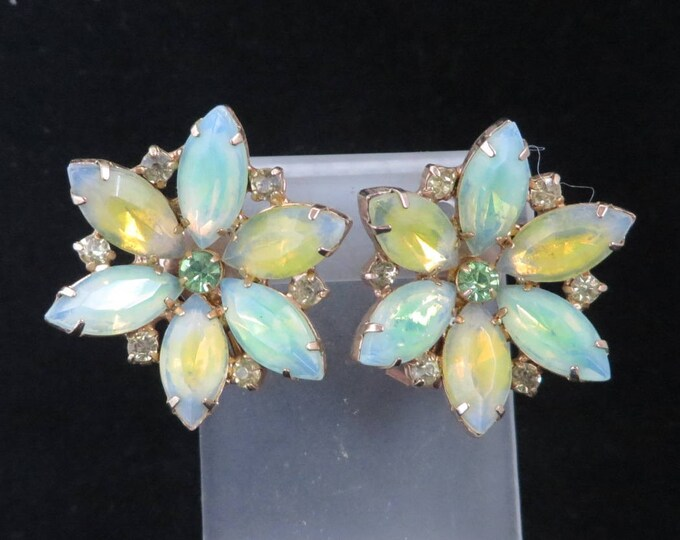 Kramer Pastel Rhinestone Earrings, Vintage Green & Yellow Earrings, Rhinestone Flower Clip-ons, Signed Kramer Jewelry