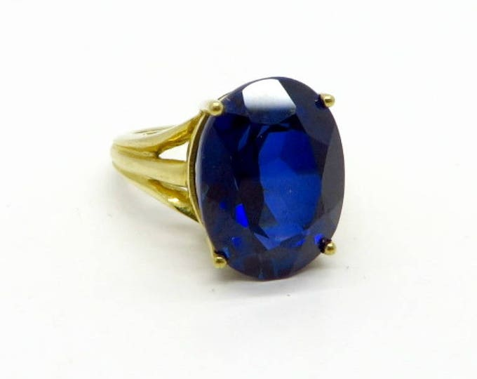 Vintage Blue Spinel Ring, 10K Gold Synthetic Spinel Ring, Sapphire Blue Statement Ring, Engagement Ring, Size 4