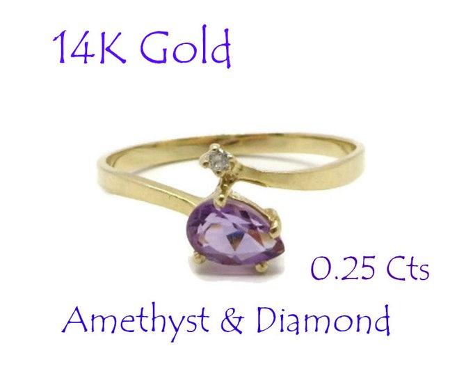 Amethyst - 14K Gold Amethyst, Diamond Ring, Vintage Promise Ring, Engagement Ring, February Birthstone, Size 6