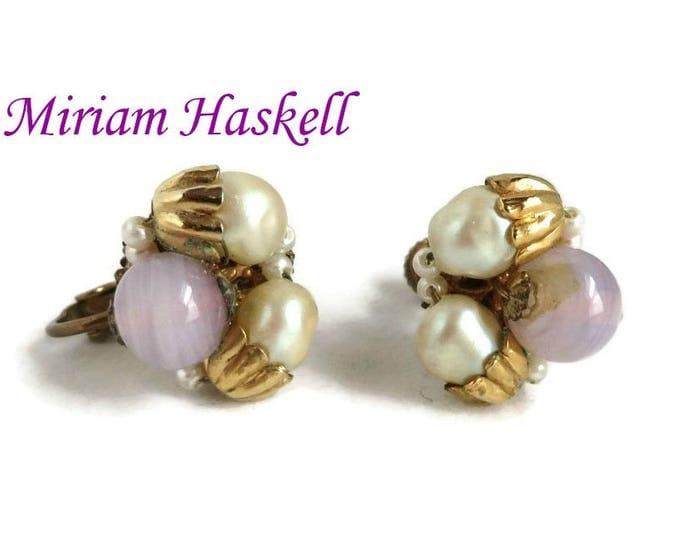 Miriam Haskell Earrings, Vintage Purple White Bead Earrings, Clip-on Screwback Cluster Earrings, Gift for Her, FREE SHIPPING