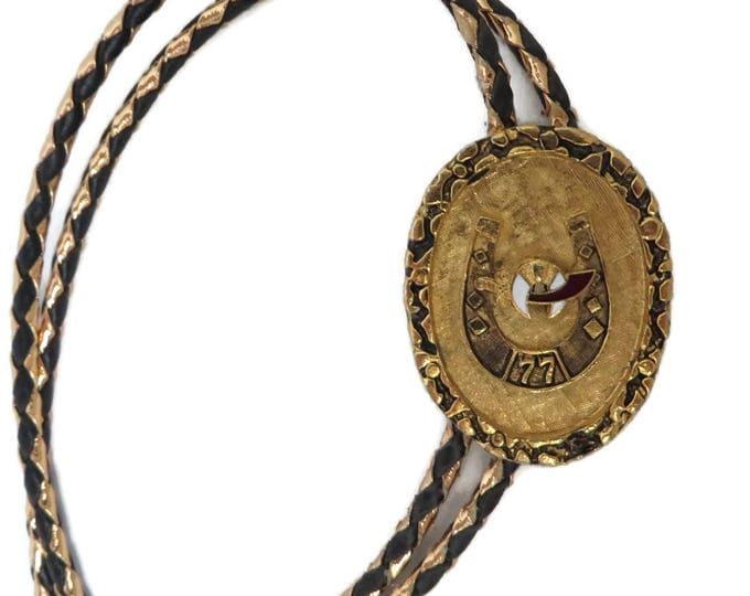 Vintage Black & Gold Bolo Tie - 1977 Shriners Potentate Bolo, Horseshoe Pendant, Unique Collector's Tie