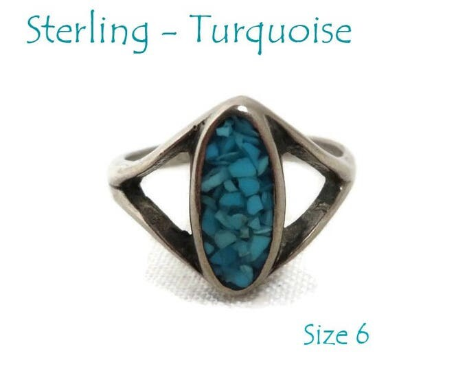 Sterling Silver Turquoise Ring - Vintage Crushed Turquoise Inlay Ring, Size 6, Gift for Her