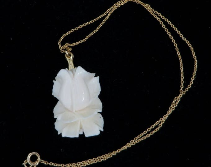 Vintage White Rose Pendant Necklace - Blooming Rose Pendant, Gold Tone Chain Necklace