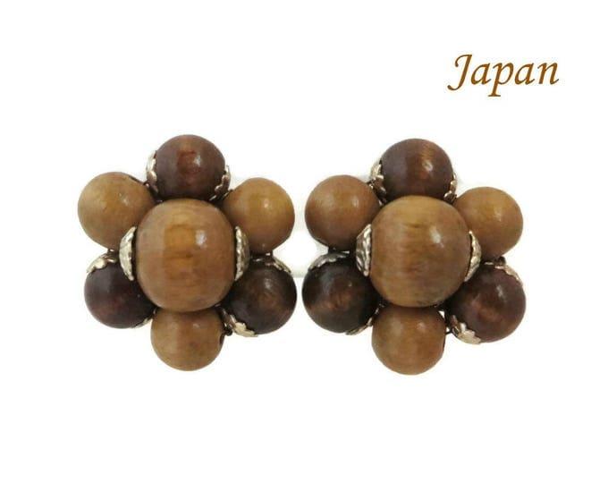 Vintage Japan Brown Bead Earrings | Wood Bead Cluster Clip-on Earrings