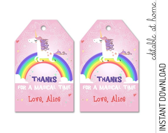 Unicorn Favor Tag Pink INSTANT DOWNLOAD