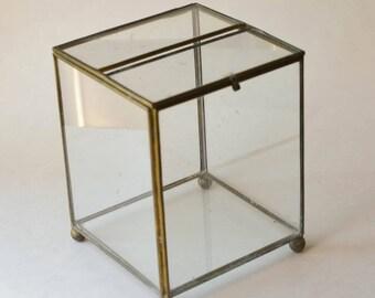 Glass Box, Vintage Glass and Brass Terrarium
