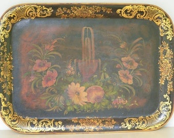 Victorian Tole Painted Tray, Huge French Tray, 1800s