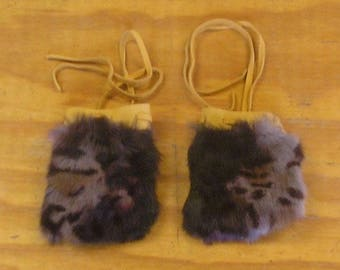2 Camo Rabbit Fur & Gold Color Deer Leather Bags