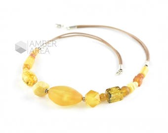 Yellow Baltic amber necklace - Amber necklace with leather - Lemon raw polished amber beads - healing simple amber necklace - 0360