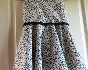 Chic and elegant dress for back of the princesses in blue and white (3 years)