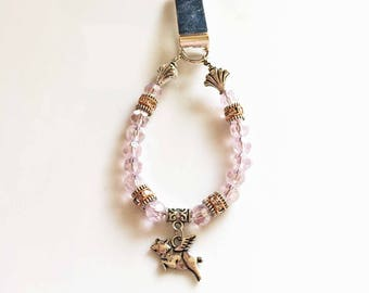 Women's Beaded Bookmark PINK with FLYING PIG Charm