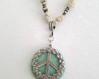Turquoise Peace Hemp Necklace