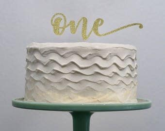 First Birthday ONE Cake Topper Gold