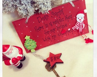Please stop here santa plaque with or without magic key