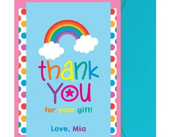 Rainbow Birthday Party Thank You Note - Rainbow Party Thank You Note - Rainbow Thank You Card - Rainbow Thanks - Personalized - Digital File