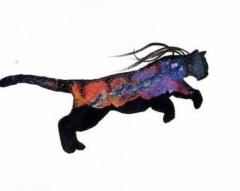 ORIGINAL Watercolour Painting - Sunset Aurora Puma.
