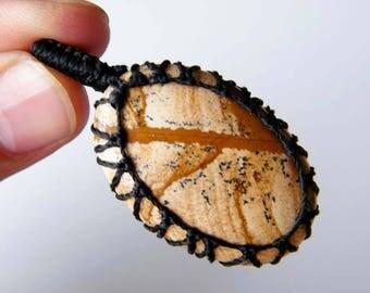 Natural Picture Jasper Pendant, Macrame Pendant Necklace, Handmade Pendant, Macrame Jewelry SH-4899