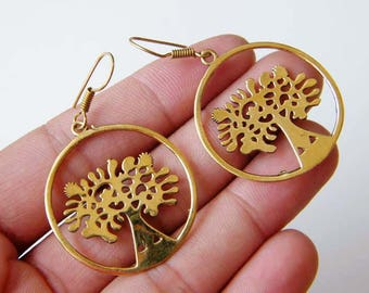 Tree of Life Earring, Brass Earring, Dangle Earring, Gypsy Earrings, Tribal Earrings, Indian Earrings, Ethnic Boho Chic Jewelry SH-5936