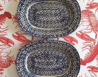 PAIR of Studio Pottery Spongeware Platters | Vintage