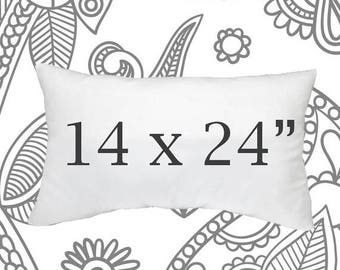 SALE ENDS SOON Pillow Insert, 14 x 24 Inch Pillow Form, Down Pillows, Throw Pillows, Soft Pillow Inserts, Synthetic Down