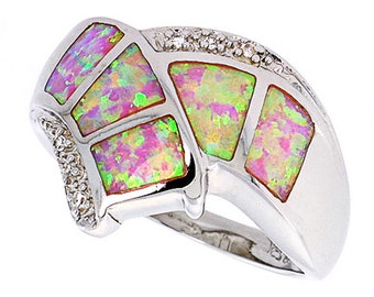 Women Silver Rhodium Plated Pink Simulated Opal Ring CZ stone Accents 15mm(DCTopr64p)