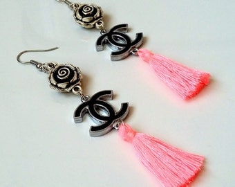 Chanel earrings with pink tassels
