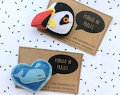 Felt Puffin Brooch - Whale Felt Brooch - Felt Penguin Brooch - Sea Life Pin Brooch - Kawaii Ocean Wildlife
