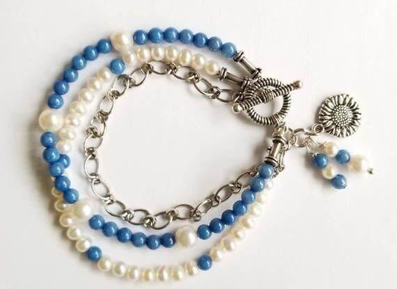 Pearl Bracelet, White Pearl Bracelet, Blue Bracelet, Blue Jade Bracelet, Chain Bracelet