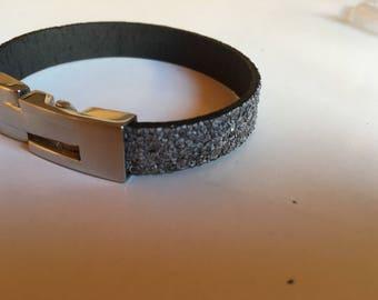 "Braceleten leather ""glitter"""