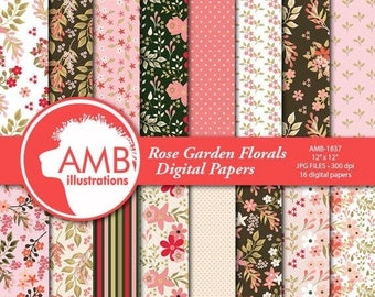 Floral papers, Rose GardenDigital Papers, Shabby Chic papers, Pinks and Greens, scrapbook papers, flower paper, digital paper, , AMB-1837