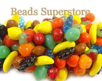 SALE 10-17 mm Multicolor Czech Glass Fruit Bead Mix - 24 pcs