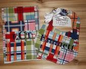 Custom Monogrammed - Large Boutique Bib and Burp Cloth - Madras Plaid
