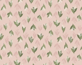 Lewis & Irene Patchwork Quilting Fabric Flo's Wild Flowers FL11.1 Lily of the Valley on Blush Pink