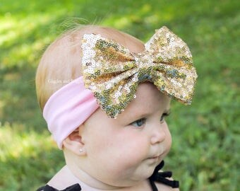 Pink and gold headband, baby head wraps, sparkle bow headband, gold sequin, infant headwrap, baby bows, 1st birthday