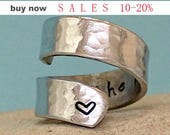 I Love You to the Moon and Back Ring...- Personalized Ring - Adjustable Aluminum Wrap Ring. Sterling Silver Ring