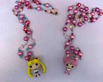 Sailor Chibi Moon hand beaded necklace