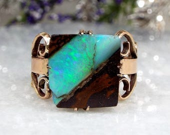 Antique / Art Nouveau 9ct Yellow Gold Ornate Boulder Opal Statement Ring Size N