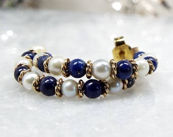 Vintage / 9ct Yellow Gold Lapis Lazuli and White Pearl Half Hoop Stud Earrings
