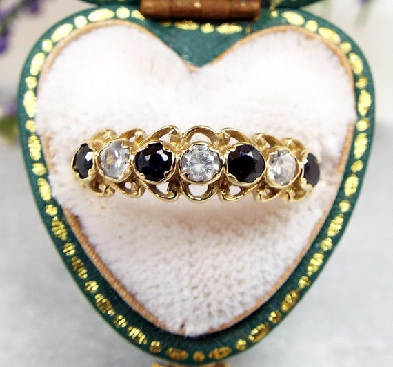 Vintage 9ct Yellow Gold Ornate Sapphire and Crystal Half Eternity Ring / Size N