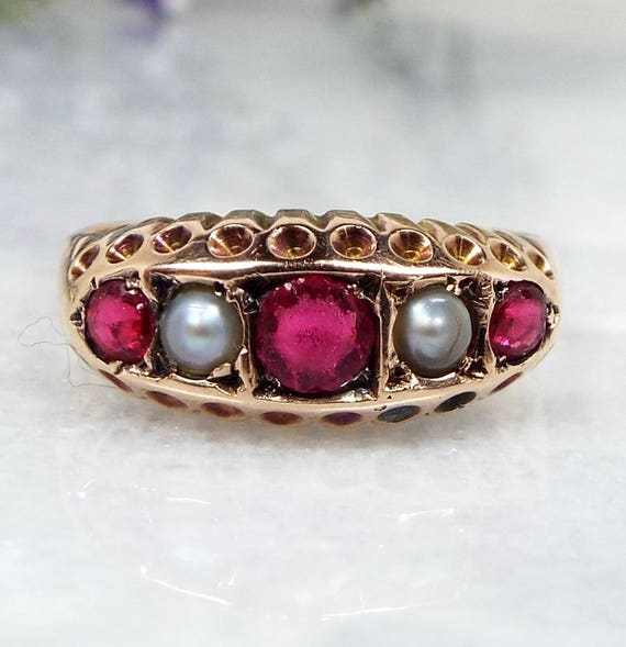 Antique Victorian Edwardian 9ct Rose Gold Pink Ruby Paste and Pearl Size M 1/2