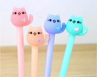 Cute Cat Gel Pen/USA Seller/Cute Kawaii Pen/Stationary/Supplies/Gel Pen/Party Favor/Cute Pens/Novelty Pen/Office/School Supplies/Cat Pens