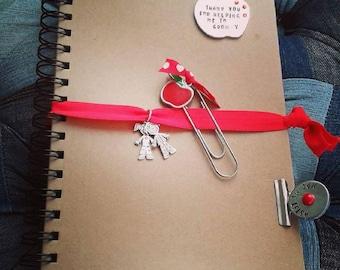 Personalised Teacher Kraft notebook, paper clip, bulldog clip, A5 Kraft notebook, stamped apple notebook, stationary set, teacher gift