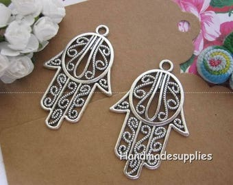 Set of 4 charms Hamsa from Israel silver 44x29mm (BIEII)