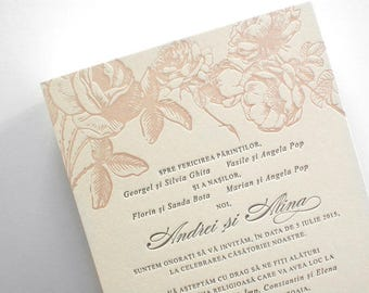 100 Custom Letterpress wedding invitations